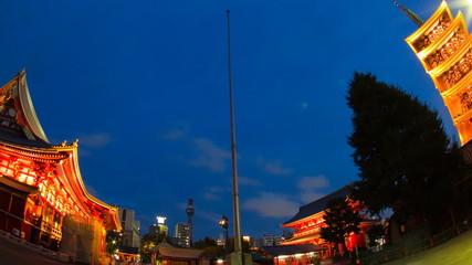 temple, sensoji light up time lapse
