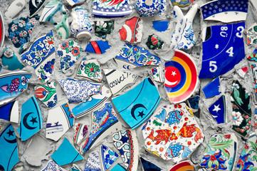 Mosaic of broken tiles wall in Istanbul