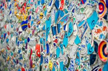 Mosaic of broken tiles wall in Istanbul,