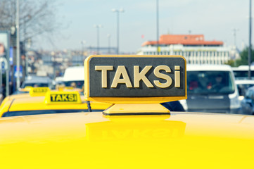 Yellow sign of the Istanbul taxi, TURKEY.