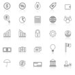 Finance line icons with reflect on white background