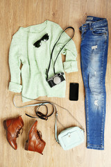 Still life of casual woman. Woman clothes and accessories