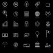 Finance line icons with reflect on black background