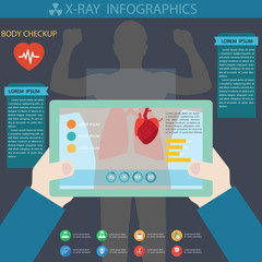 X-ray body with tablet technology infographics