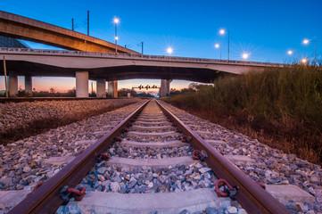 railroad under motorway road.