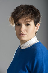portrait girl with short hair