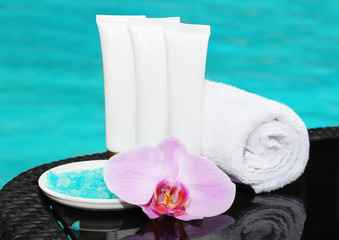 cosmetics and sea salt for care