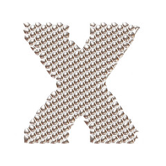 3D letter X dots pattern in silver on isolated white