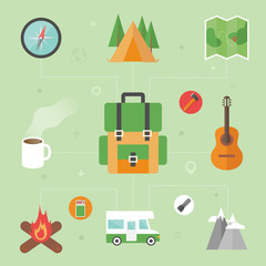 Camping concept, flat icons, vector illustration