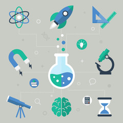 Science concept, flat icons, vector illustration