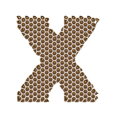 3D Alphabet X in Golden dots on isolated white background.