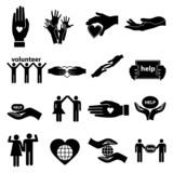 Volunteer help icons set