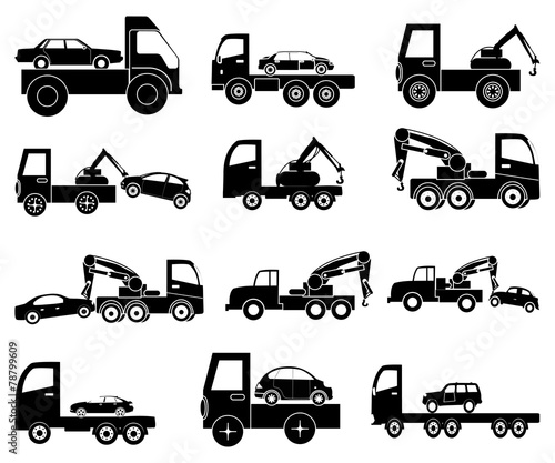 Tow vehicles icons set - 78799609