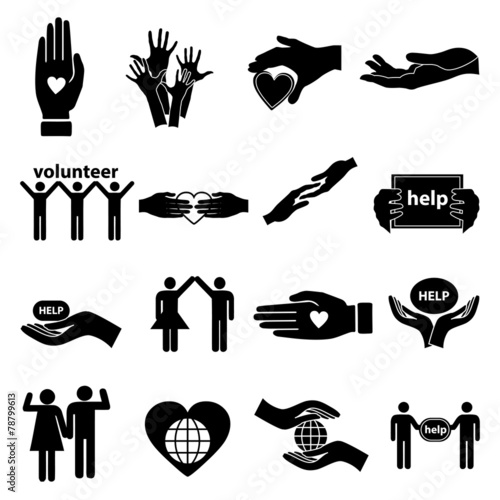 Volunteer help icons set - 78799613