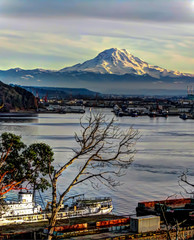 Mount Rainier Overlooks The Port Of Tacoma HDR