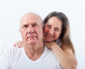 beautiful elderly couple in bed.
