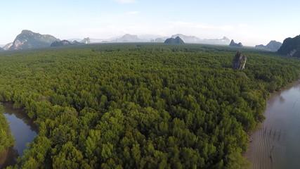 Aerial view Phang nga bay and islands, Andaman Sea, Thailand
