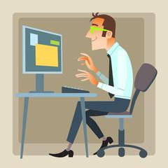 man office working computer