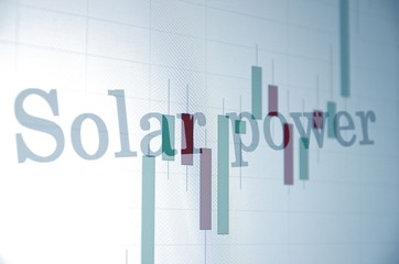 "Inscription ""Solar power"" on PC screen. Financial concept"