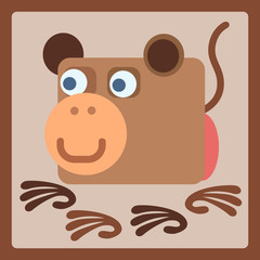 monkey stylized cartoon icon