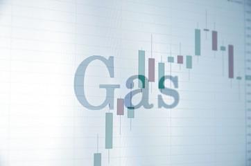 "Inscription ""Gas"" on PC screen. Financial concept."