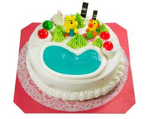 Fancy cake with sugar cartoon