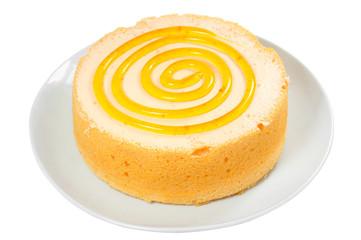 Sponge cake isolated on white background