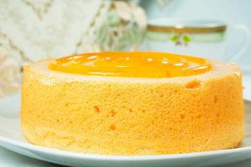 Closeup sponge cake dessert