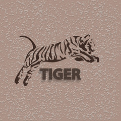 Vector silhouette tiger. Stylized animal.