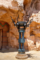 sculpture behind entry to bridge in Sun City, South Africa