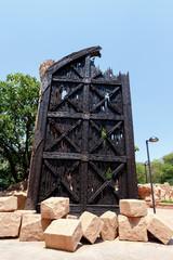 Gigantic door near bridge in famous Lost City