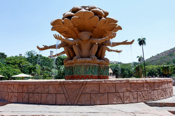 Gigantic monkey statues on fountain in famous Lost City