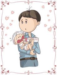 Father Feeding Crying Baby Vector Cartoon