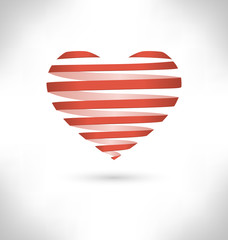 Red Spiral heart on grayscale background