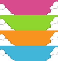 Four multicolored spring banners with clouds