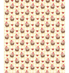 Seamless sweet pattern with cupcake and hearts on yellow backgro