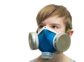 Teenager with respirator