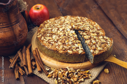 Homemade pie with poppy seeds and almond flakes - 78804647