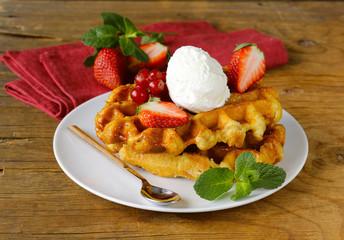 Belgian waffles with berries (currants, strawberries)