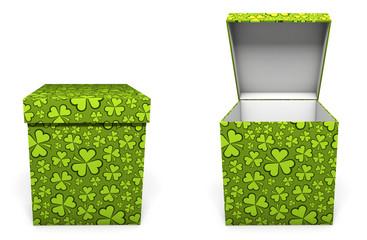 Green St. Patricks Day present box
