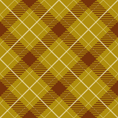 Seamless yellow and brown plaid pattern.