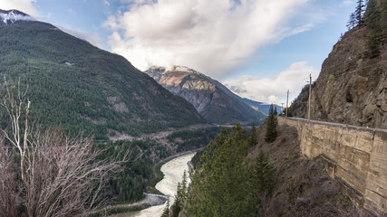 Railroad highway and Power Lines through the Fraser Canyon