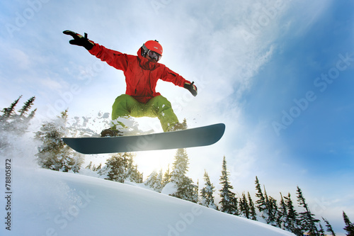Snowboarder jumping - 78805872