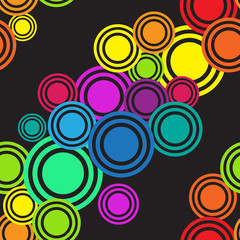 Seamless rainbow diagonal circles  pattern. Texture Background.