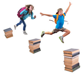 schoolchildren with backpacks leaping over piles of books
