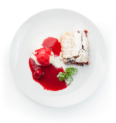 Restaurant food isolated - cherry strudel with ice cream and sau