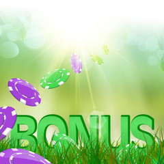 Summer bonus in  green and fresh grass and casino chips falling