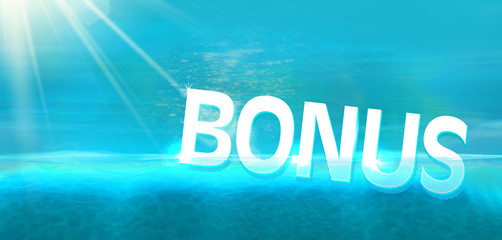 Bonus diving in blue ocean background