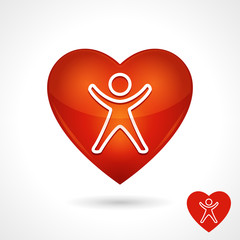 Health Vector Symbol With Heart Icon And Person