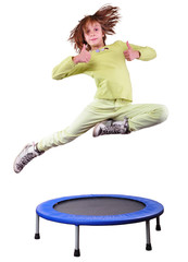 cute girl exercising and jumping on a trampoline